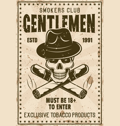 Smokers gentlemen club vintage poster vector