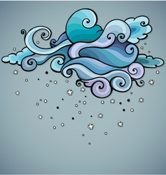 Snowing cloud swirls Winter abstract background vector