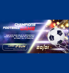 soccer or football wide banner or flyer design vector image