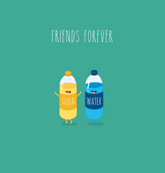 soda water and water bottles friends forever vector image