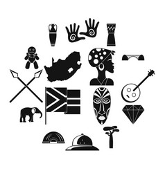 south africa travel icons set simple style vector image