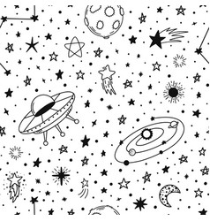 space hand drawn pattern seamless doodle vector image