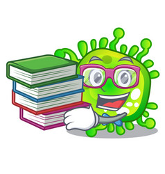 Student with book virus cells bacteria microbe vector