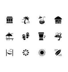 Summer vacations black glyph style icons vector