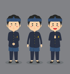 Sundanese indonesia character with various vector