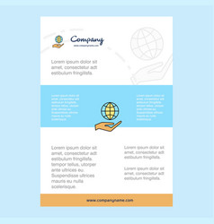 Template layout for safe world comany profile vector