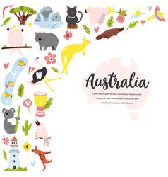 tourist poster with symbols animals australia vector image