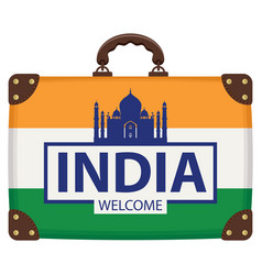 travel bag with indian flag and the taj mahal vector image