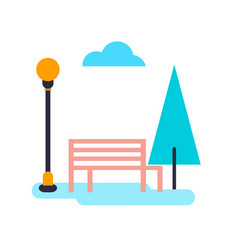 tree and bench with cloud vector image