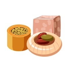 Turkish delight icon in cartoon style vector