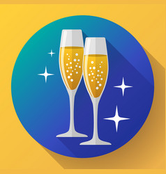 two glasses of champagne icon with sparkles vector image