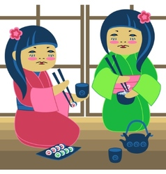 Two japanese girl vector