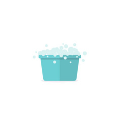 washing tub filled with soapy water with bubbles vector image