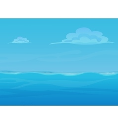 Water ocean sea landscape with sky and clouds vector image