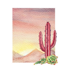 Watercolor background with desert and cacti vector