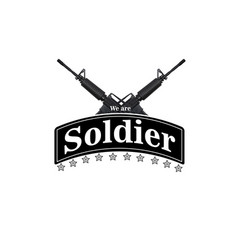 We are soldier ribbon star guns background vector