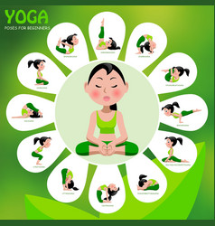 yoga template with poses and titles on green vector image