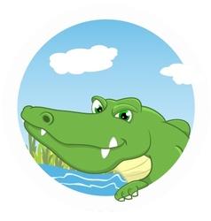 Crocodile on circle vector image vector image