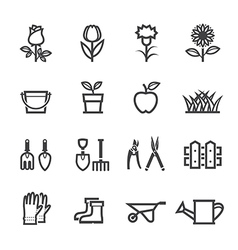Flower and Gardening Tools Icons vector image