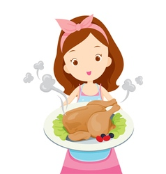 Girl Showing Roast Chicken On Dish vector image vector image