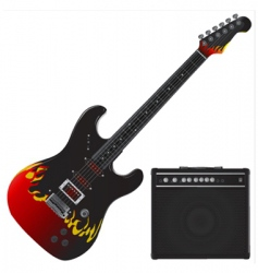 guitar and amp vector image