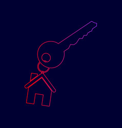 key with keychain as an house sign line vector image vector image
