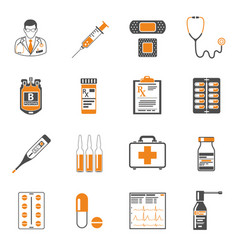 medical two color icons set vector image vector image