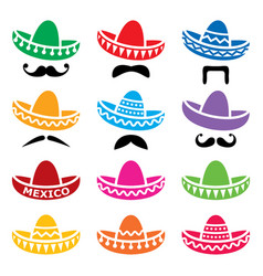 mexican sombrero hat with moustache or mustache ve vector image
