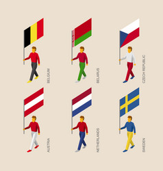3d people with flags of european countries vector image