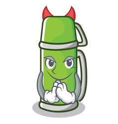 devil thermos character cartoon style vector image vector image