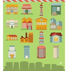 set with buildings icons vector image