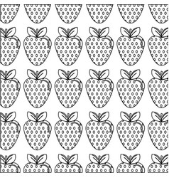 silhouette delicious strawberry fruit background vector image vector image