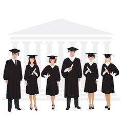Young guys and girls graduates standing in front vector image