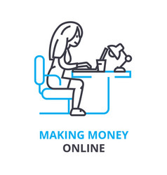 making money online concept outline icon linear vector image vector image