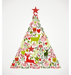 Merry Christmas tree shape full of elements vector image vector image