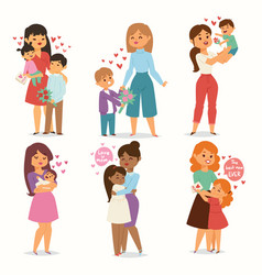 mother and children kids with flower bouquet love vector image