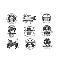 music record studio black and white emblems vector image vector image