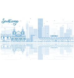 Outline Santiago Chile Skyline with Blue Buildings vector image