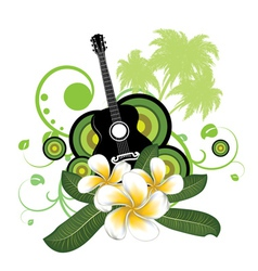 Plumeria flowers and guitar vector image vector image