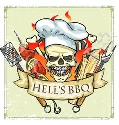 Bbq grill label design - hells bbq vector