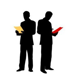 businessman reads document vector image vector image