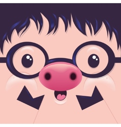 Cute Icon Pig face with emotions Character vector image vector image