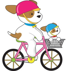 Cute Puppy on Bike vector image