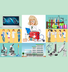 doctors and nurses work at hospital vector image vector image