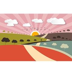 Morning - Evening Rural Paper Landscape Background vector image vector image