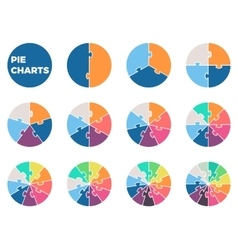 Pie charts for infographics diagrams with 1 - 12 vector