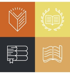 set of outline education logos and icons vector image vector image