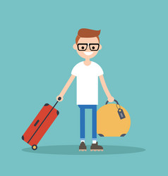 young nerd travelling with his luggage flat vector image vector image