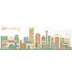 Abstract Johannesburg Skyline with Color Buildings vector