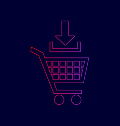 add to shopping cart sign line icon with vector image